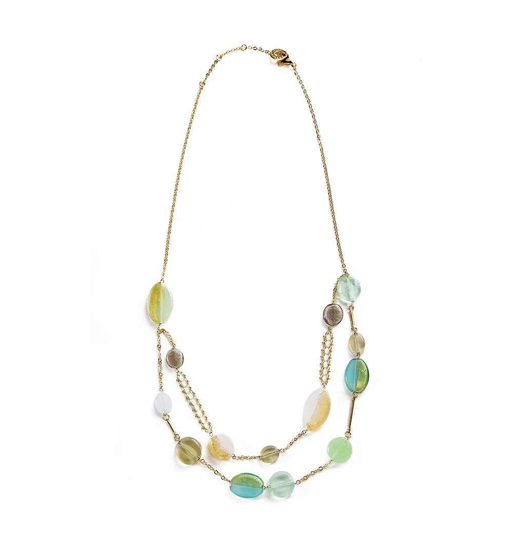 Collana Antica Murrina summer donna con perle in vetro azzurro verde - COB29A08