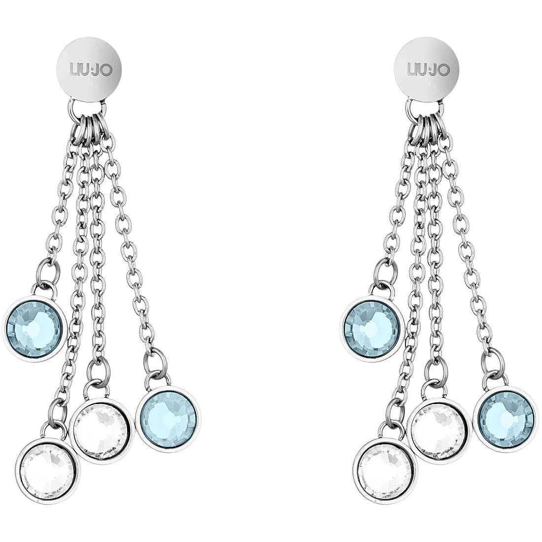 Orecchini Donna Liu Jo Luxury Acciaio Con Cristalli Bianchi e Azzurri - LJ1105