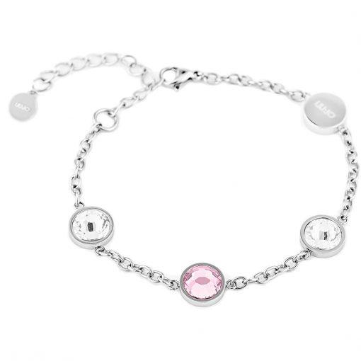 Bracciale Donna LIU JO Luxury Acciaio Cristalli Colorati Rosa, Bianco - LJ1165