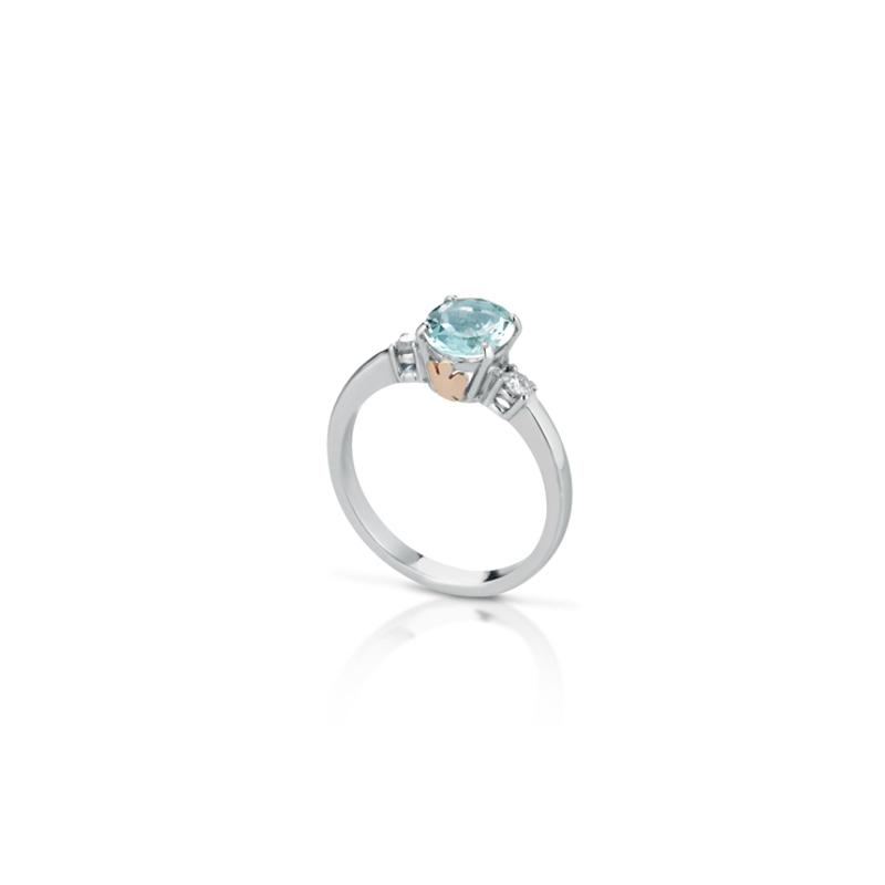 Roberto Giannotti anello da donna in oro 375% diamante e acquamarina - LUXAM03