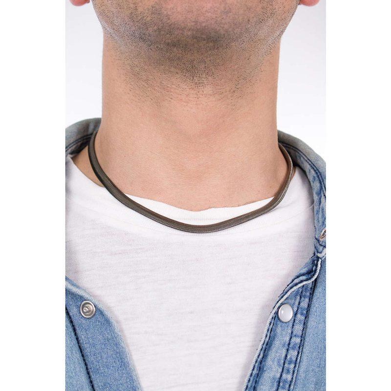Collana Breil Viper Trendy Uomo Gioielli Acciaio Con IP Gun - TJ2250