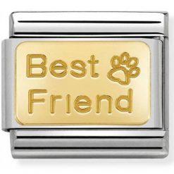 NOMINATION Composable Gioiello Unisex per Bracciale Best Friend con Orma Acciaio Oro 18k-030121/50