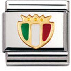 NOMINATION Composable Gioiello Unisex per Bracciale Acciaio Scudetto Italia Smalto Tricolore Oro 18k-030204/02